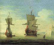 Monamy, Peter A fifty gun two-decker,at sea near a coast oil painting picture wholesale